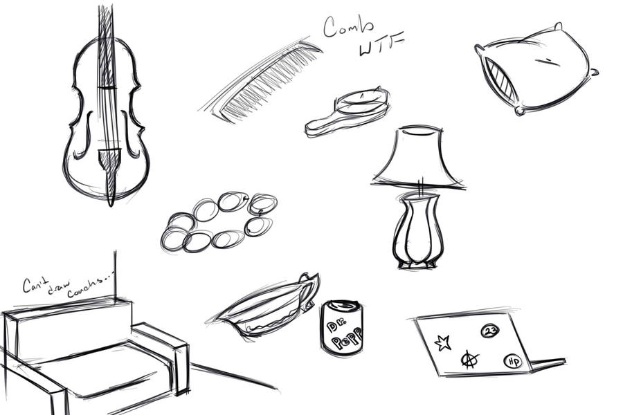 Scribble Drawing Objects : Random objects by imginarygirl on deviantart
