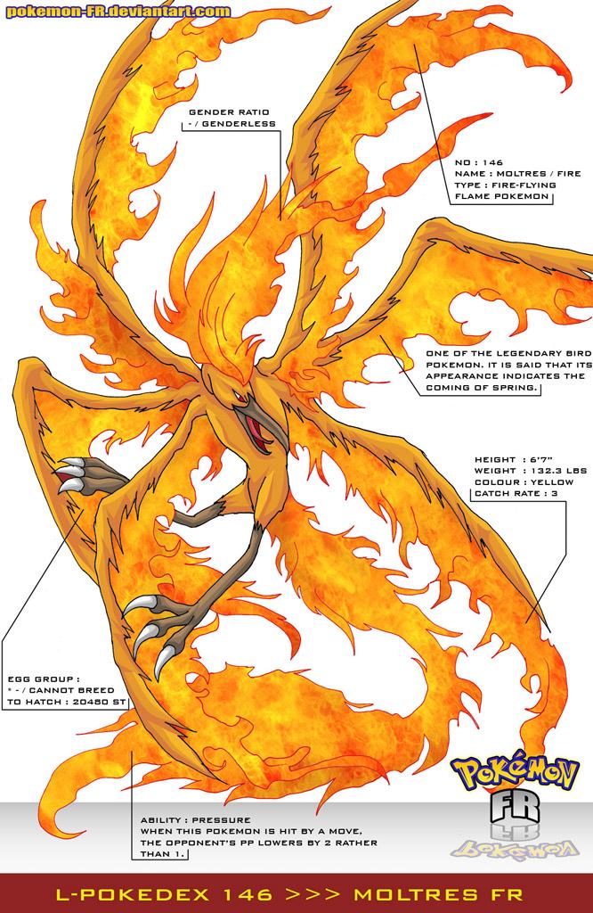 L'Pokedex 146 - Moltres FR by Pokemon-FR on DeviantArt