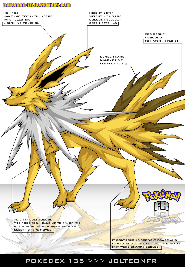 Pokedex 135 - Jolteon FR by Pokemon-FR on DeviantArt