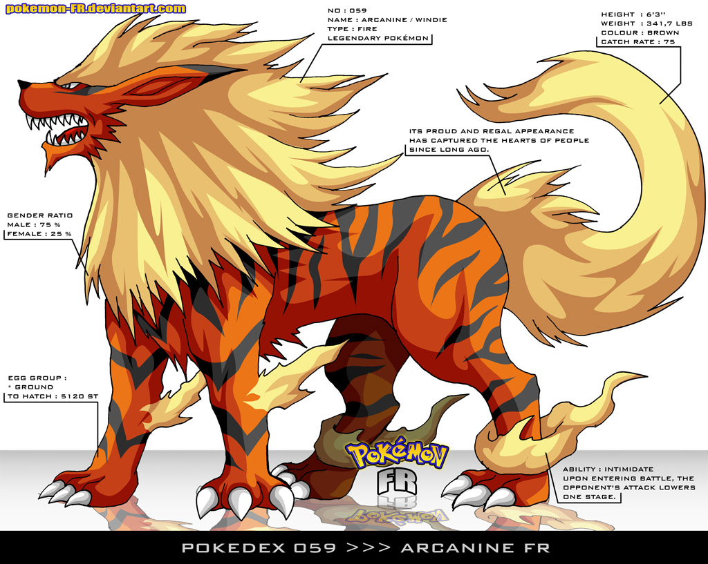 Pokedex 059 - Arcanine FR by Pokemon-FR on DeviantArt