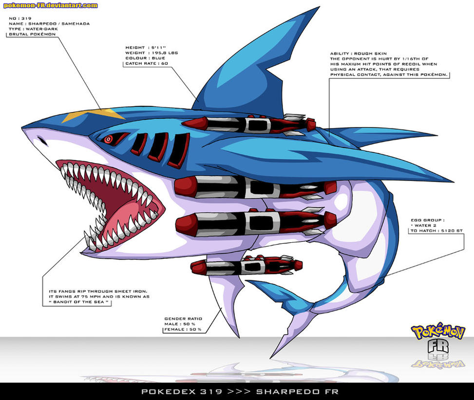pokedex sharpedo fr by pokemon fr on  pokedex 319 sharpedo fr by pokemon fr