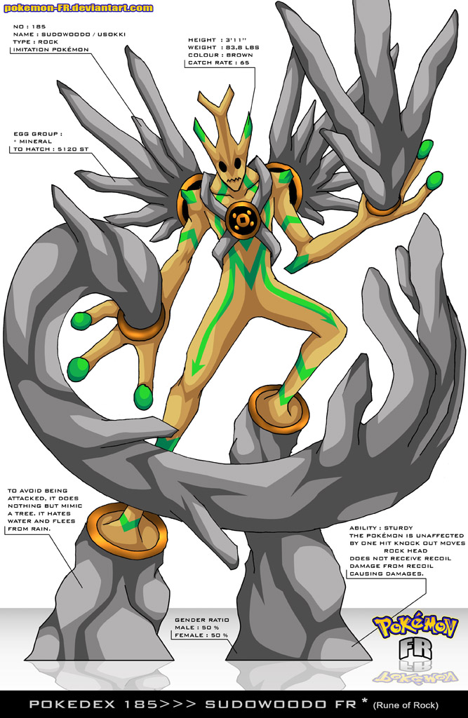 Pokedex 185 - Sudowoodo FR by Pokemon-FR