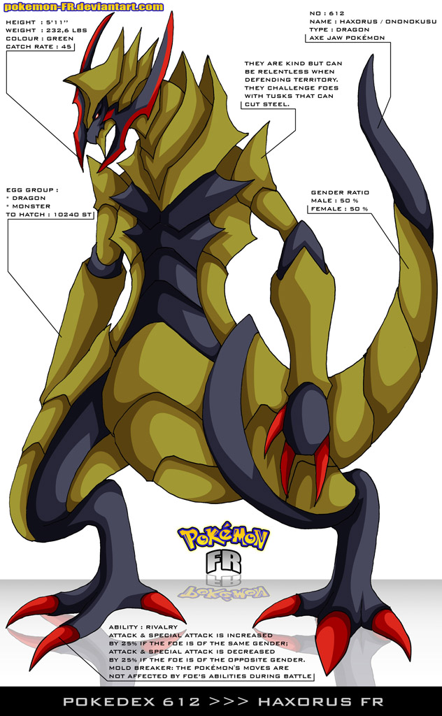 Pokedex 612 - Haxorus FR by Pokemon-FR on DeviantArt