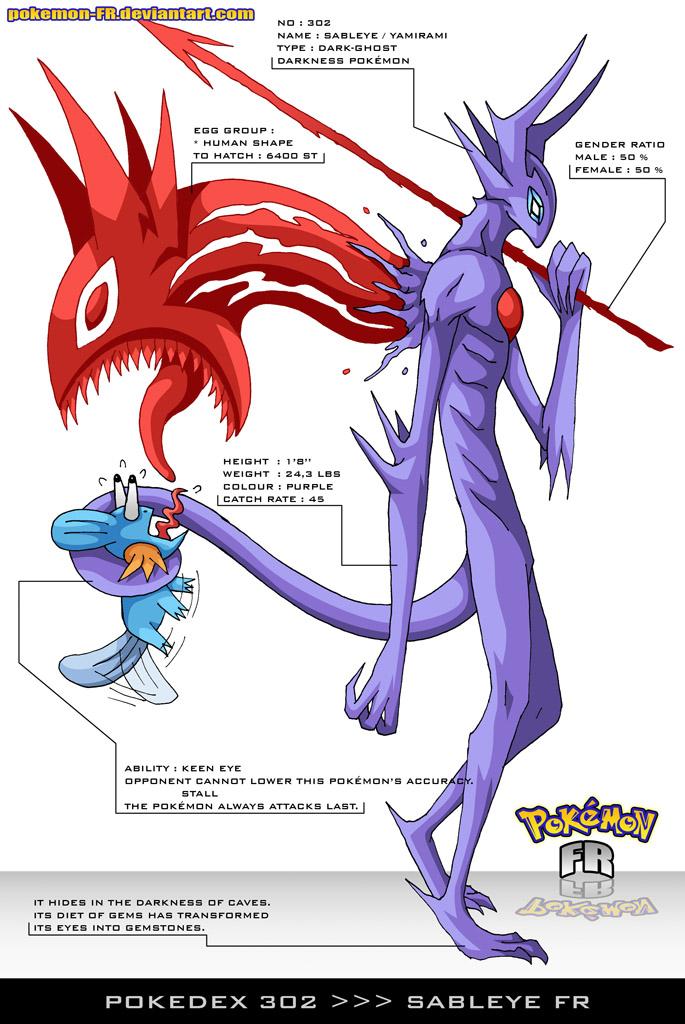 Pokedex 302 Sableye Fr By Pokemon Fr On Deviantart