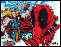 DEADPOOL and THOR sketch by TaylorGarrity