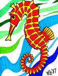 Sharpie Seahorse by glenkamo