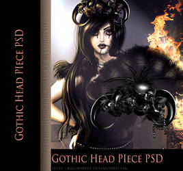 Gothic painted Head Piece hat psd png STOCK