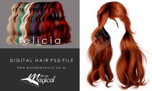 Felicia Painted Instant Hair PSD add on hair stock
