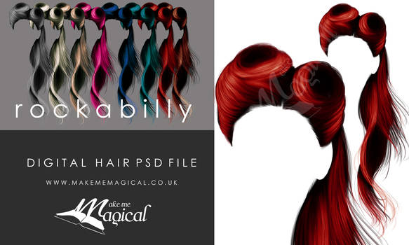 Rockabilly painted instant HAIR STOCK PSD add on