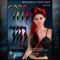 Rockabilly painted instant HAIR STOCK PSD add on by MakeMeMagical