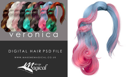 Veronica Painted Instant Hair PSD 8 x hair stock