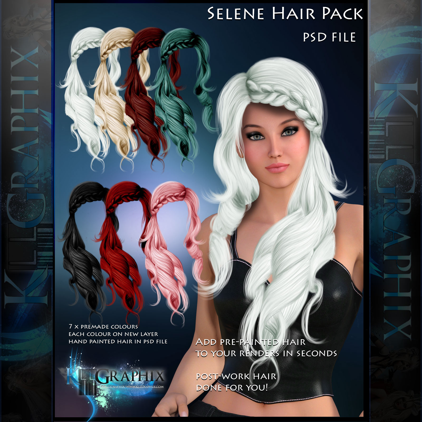 Hair Psd Free Download: Selene Painted Instant Hair PSD Add On Hair Stock By