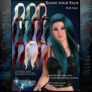 Raine Painted Instant Hair PSD add on hair stock
