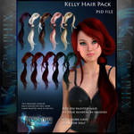 Kelly Painted Instant Hair PSD add on hair stock