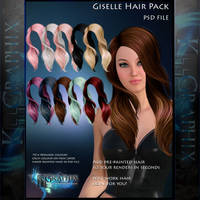 Giselle Painted Instant Hair PSD add on hair stock by MakeMeMagical