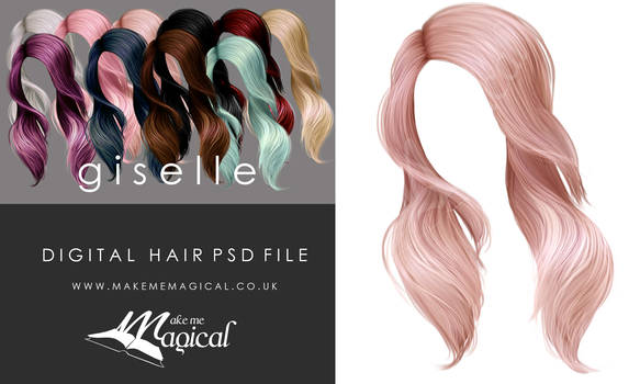 Giselle Painted Instant Hair PSD add on hair stock