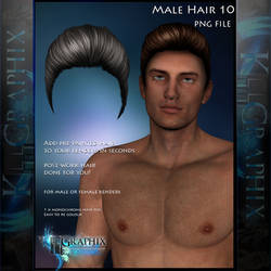 Male Hair 10 Painted Instant hair PNG add on stock