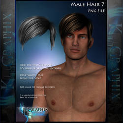 Male Hair 7 Painted Instant hair PNG add on stock