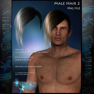 Male Hair 2 Painted Instant hair PNG add on stock