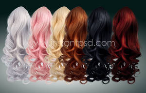 Elegant Curls - Instant Hair PSD x 6 colours