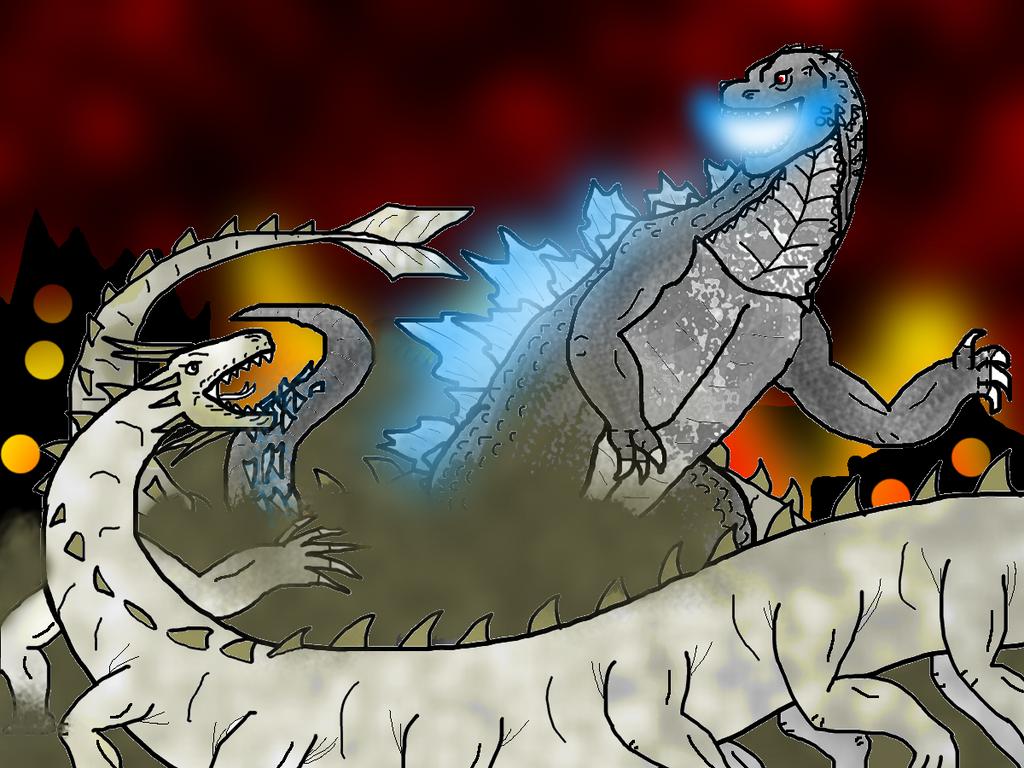 Godzilla 2014 vs Vishnu by MrJLM18