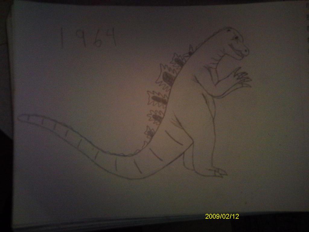 Godzilla drawing #4- 1964 by MrJLM18
