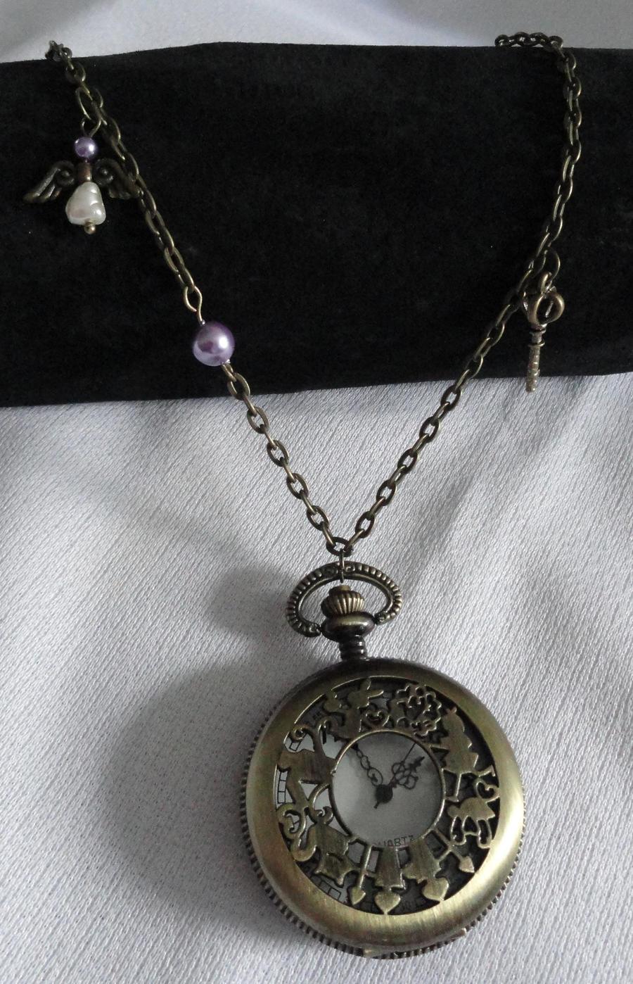 Steampunk Alice in Wonderland Pocketwatch Necklace by Sparkling-Sky