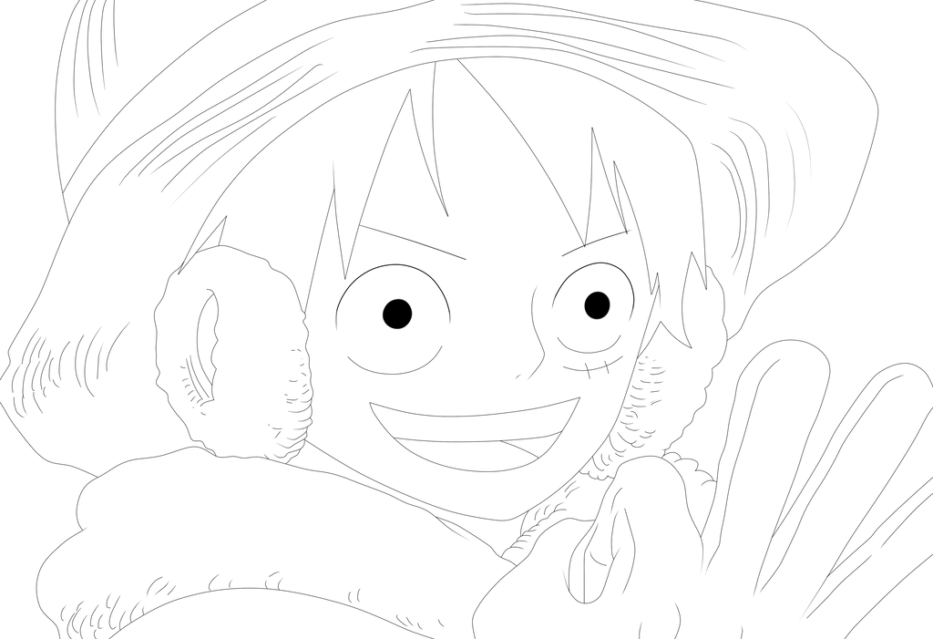 Luffy Lineart : Luffy lineart by misakibyakko on deviantart