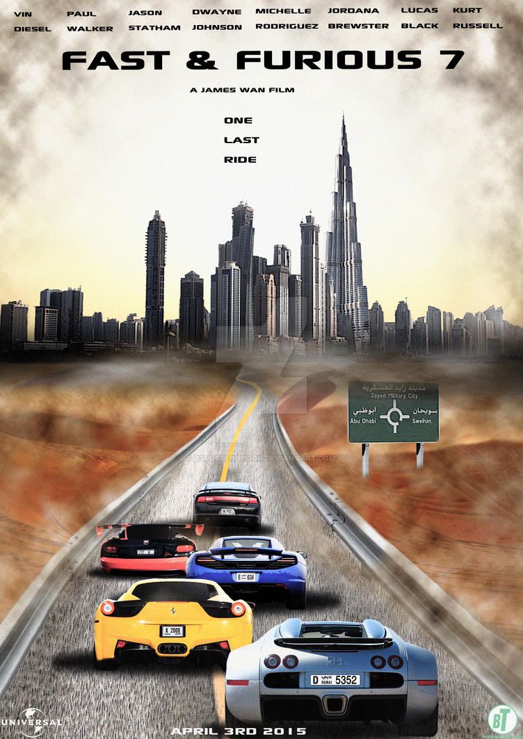Fast and Furious 7 Abu Dhabi Poster 2015 by BTPosterDesign on