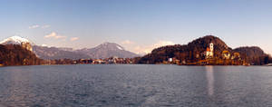 Panoramic view - lake Bled with its surroundings