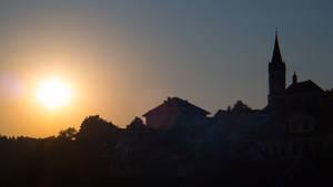 Evening silhouette of Novo mesto
