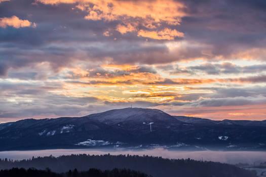 Sun rises over the wonderful Slovenian landscape