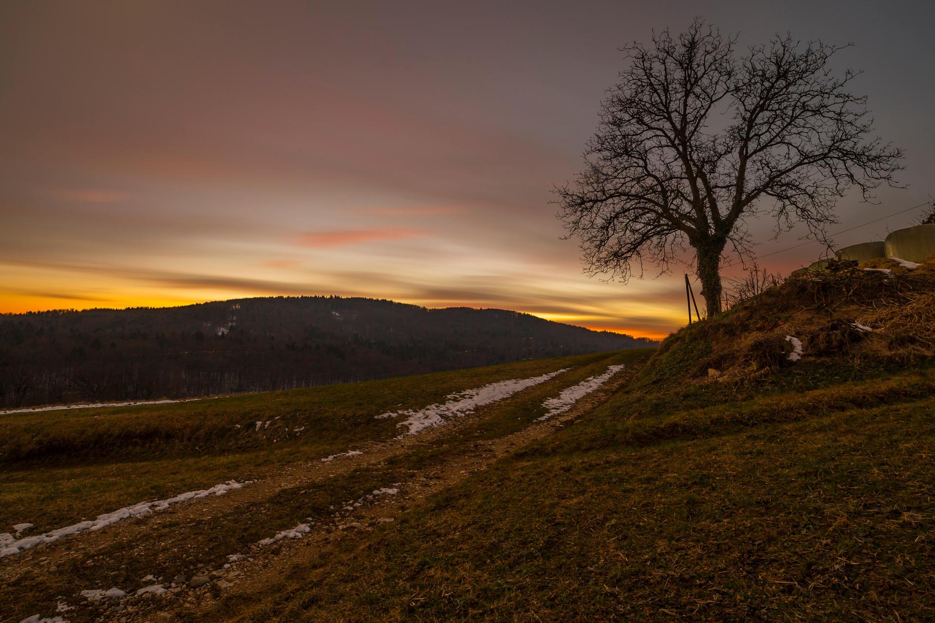 Beautiful sunset over Slovenian rural landscape