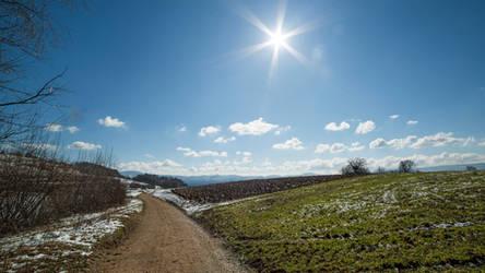 Sunny Slovenian winter landscape