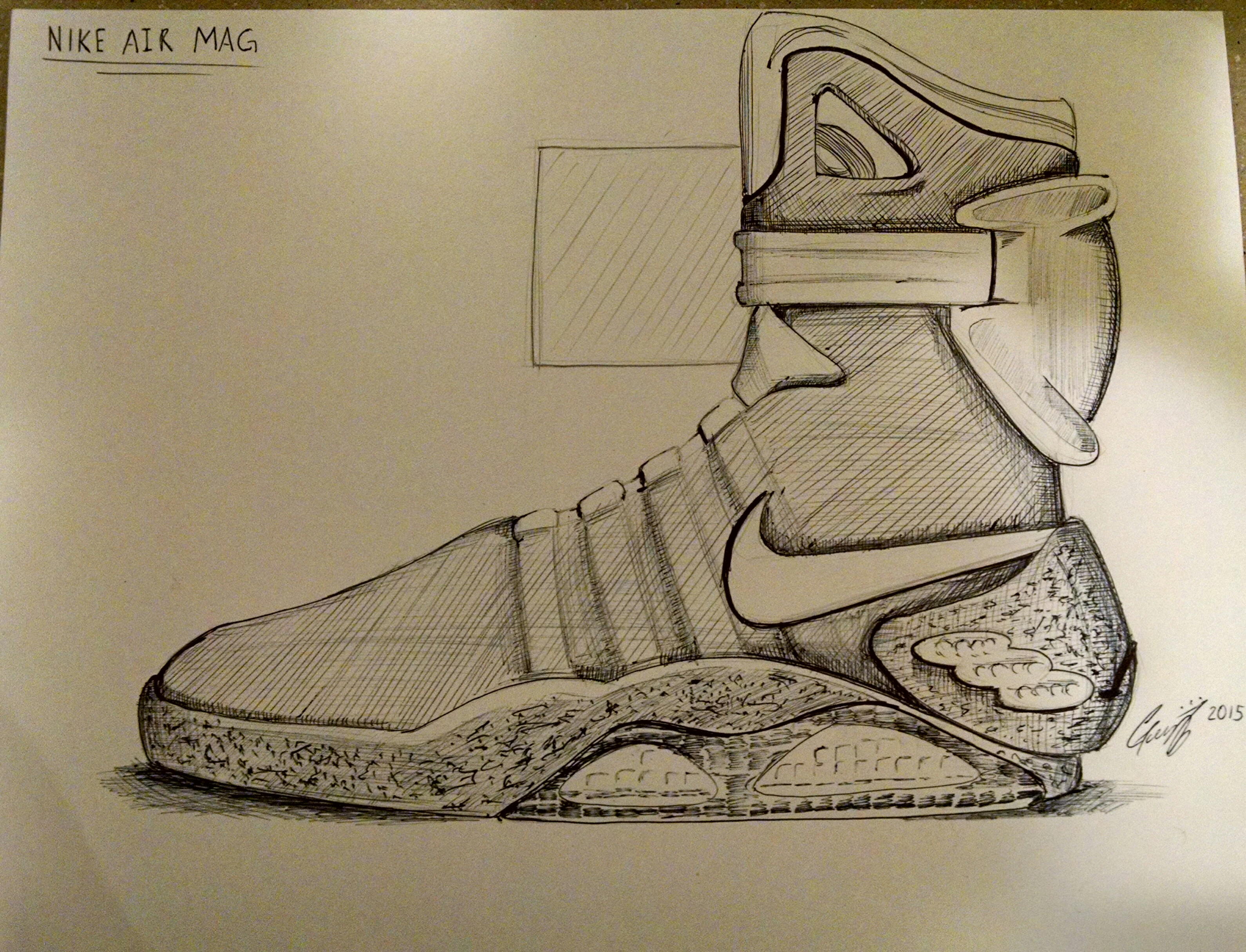 the gallery for gt nike air shoe drawing