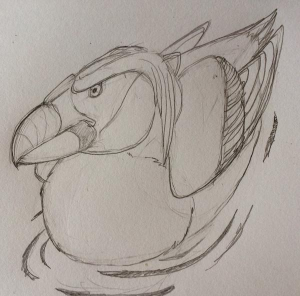 Tufted Puffin Pencil Sketch by raven-amos