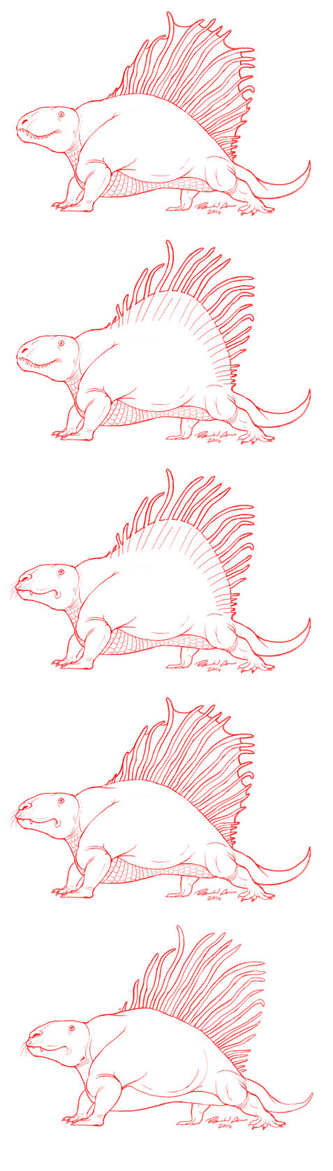 Different Takes on Dimetrodon by raven-amos
