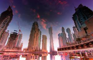 Reflections of Dubai Marina by ahmedwkhan