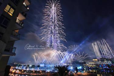 Burj Khalifa Fireworks by ahmedwkhan