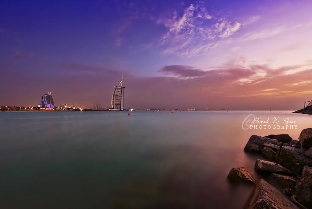 Sunset and Burj al Arab by ahmedwkhan