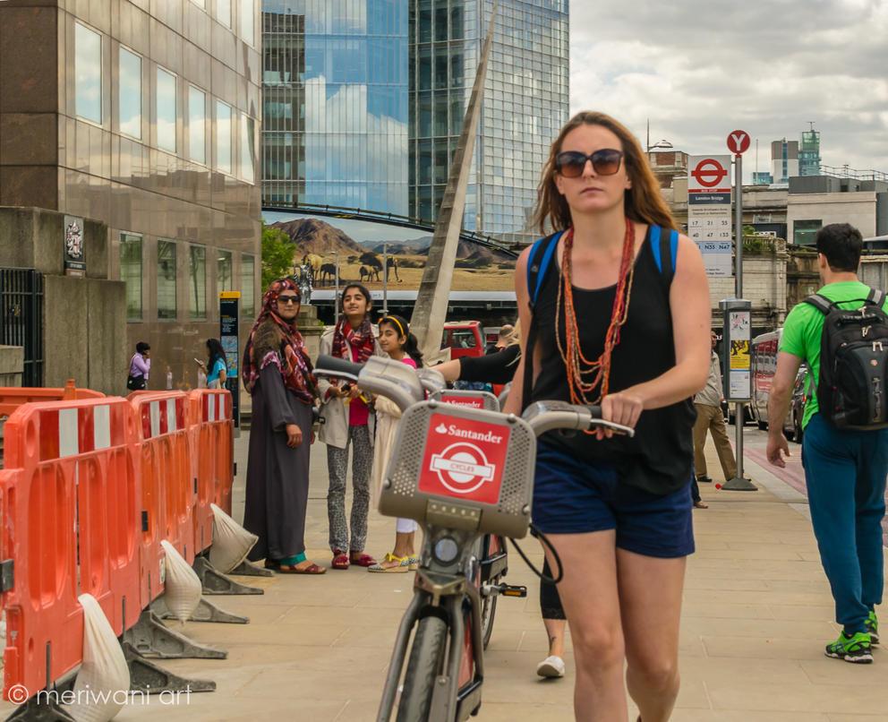 Lady with bike 0515010 by meriwani