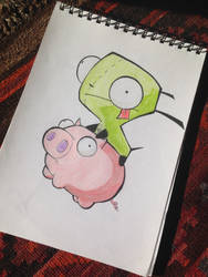 Gir on a rubber piggy by Ceruleansketchcat