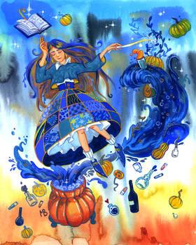 Blue pumpkin juice