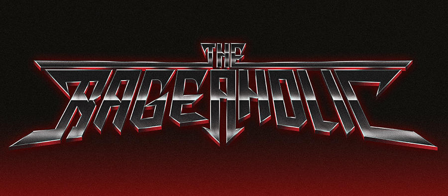 The Rageaholic - 80s chrome heavy metal style logo by Bulletrider80s