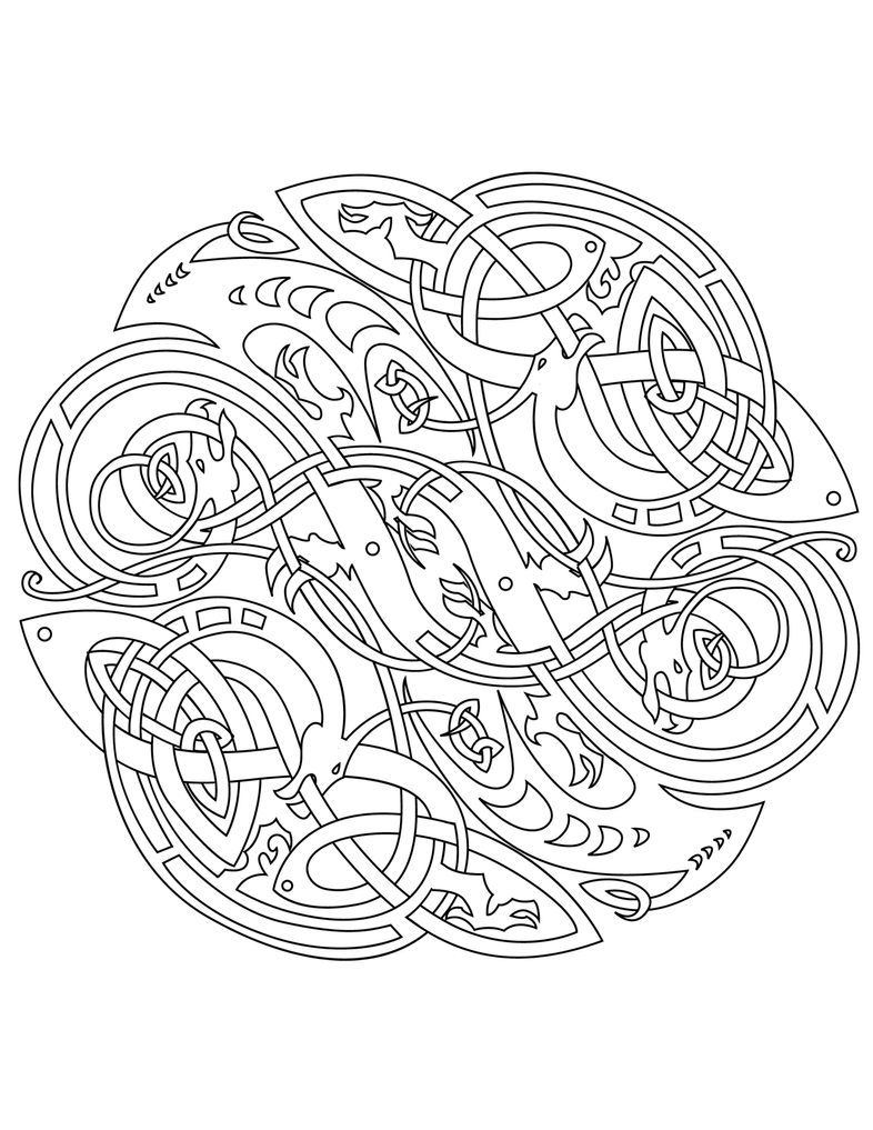 Celtic Vector Colouring Book By Ikue On Deviantart Celtic Mandala Coloring Pages
