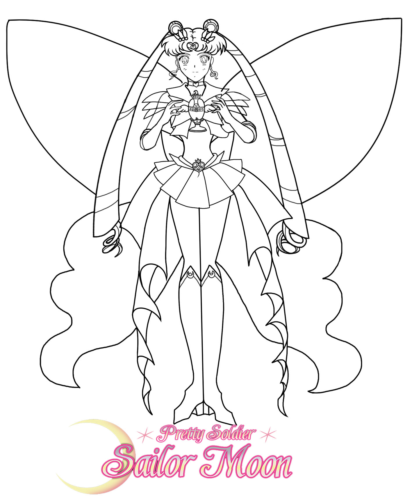 Line Drawing Moon : Super sailor moon line art by sailormuffin on deviantart