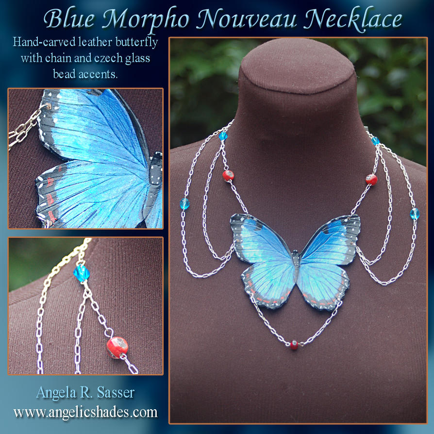 Blue Morpho Nouveau Necklace by Angelic-Artisan