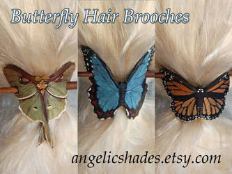 Leather Butterfly Hair Brooches 12-2011 by Angelic-Artisan