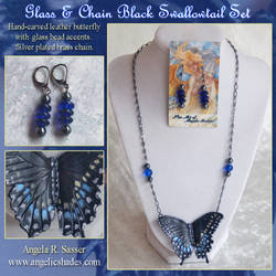 Black Swallowtail Glass and Chain Set by Angelic-Artisan