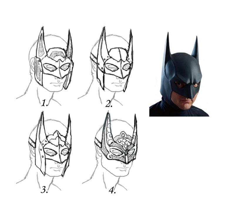Dark Knight Mask Design Sketches by Angelic-Artisan